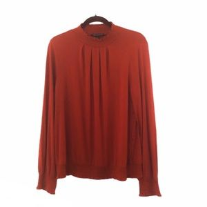 Cable & Gauge Red Smocked Mock Neck Blouse - XL